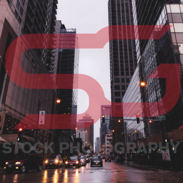 In-Middle-of-Street-Downtown-Chicago-Stable-Gray-Stock-Photography
